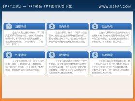 六个并列关系的PPT文本框模板