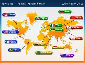 精美的带国家标识的世界地图PPT背景图片