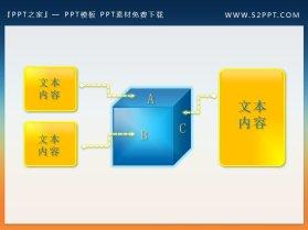 立体方块内容呈现PPT素材