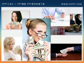 3组金钱钞票背景的金融经济PPT素材下载