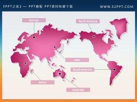 粉色世界地图PPT小插图下载