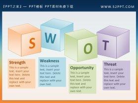 SWOT背景的3D盒子幻灯片文本框素材
