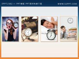 两组彩色与黑白搭配的时间钟表PPT素材下载