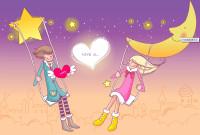 月空星照亮一对小情侣ppt背景图片