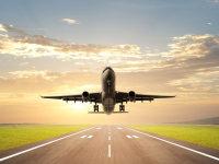 飞机起飞特写大气商务ppt背景图片