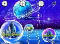 大气蓝色科技互联网全球商务PPT标题背景图片