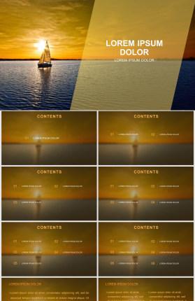 夕阳帆船扬帆远航PPT模板