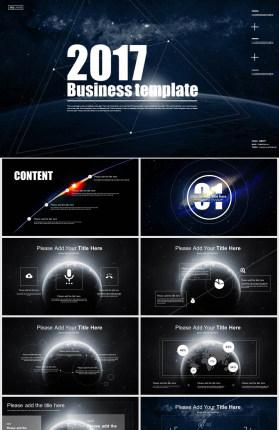 炫酷动态科幻宇宙星球PPT模板