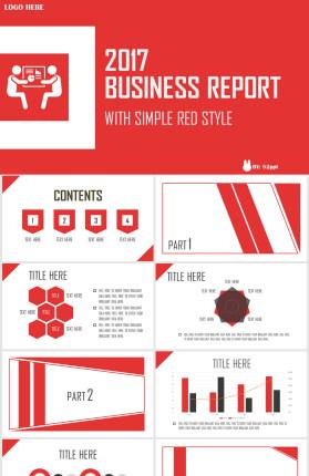 简约红色商务报告PPT模板