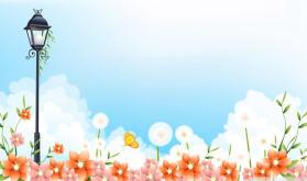 唯美蓝天白云花朵PPT背景图片
