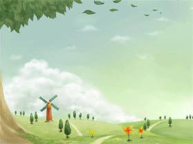 卡通乡村田园风光PPT背景图片