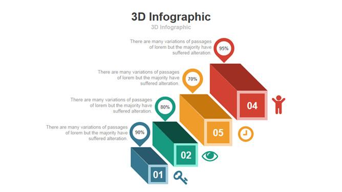 3D立体台阶PPT图形素材